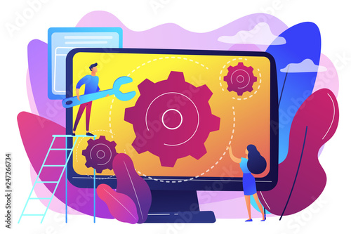 Fototapeta Computer technician with wrench repairing computer screen with gears. Computer service, laptop repair center, notebook setup service concept. Bright vibrant violet vector isolated illustration obraz