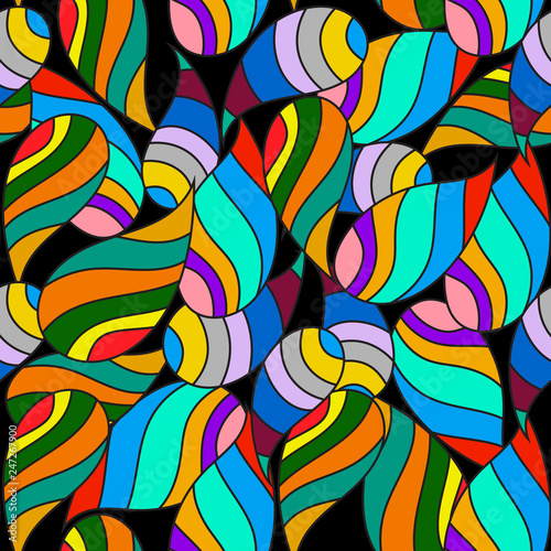 Foto auf AluDibond Klassische Abstraktion Colorful striped paisley vector seamless pattern. Bright cartoon style doodle abstract shapes. Multicolor stripes, lines, figures. Beautiful modern background. Ornamental repeat trendy backdrop.