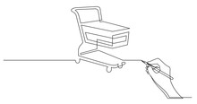 Hand Drawing Business Concept Sketch Of Shopping Cart