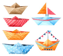 Boat Paper Cartoon Watercolor Isolated On White Background , Hand Drawn Character For Kids, Greeting Card , Cases Design, Postcards, Product, Notebook And More