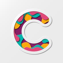 Paper Cut Letter C Symbol. Rea...