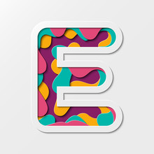 Paper Cut Letter E Symbol. Realistic 3D Multi Layers Paper Cut Effect Isolated On White Background. Suitable For Fun And Happy Things.