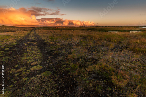 Canvas Prints Arizona sunset on the field in iceland