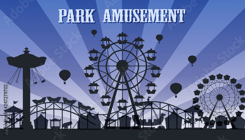 Photo A silhouette amusement park template