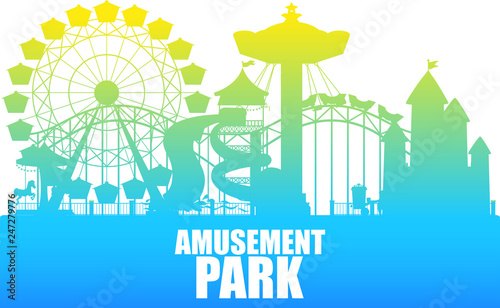 Obraz A colour silhouette amusement park template - fototapety do salonu