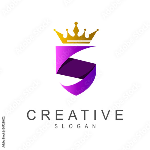 Photo  luxury shield letter s logo template
