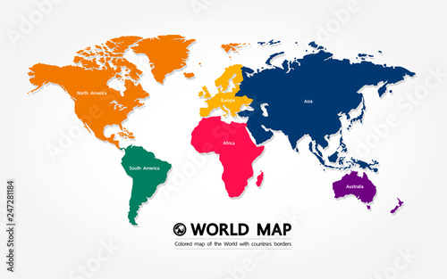 Foto auf AluDibond Weltkarte Grand world map graphic element vector illustration.