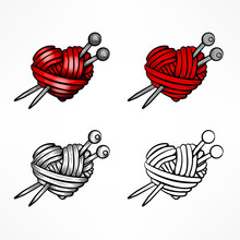Heart Made Of Red Wool Yarn Wi...