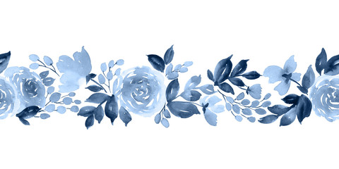 Watercolor horizontal seamless pattern with flowers of tea rose in indigo blue
