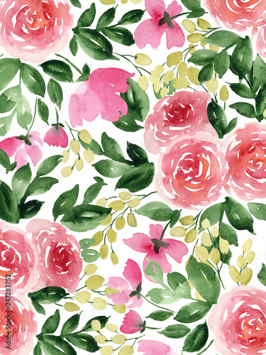 Fototapeta Watercolor background with tea roses