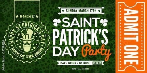 Saint Patrick's Day party celebration invitation, ticket, admit one Canvas Print