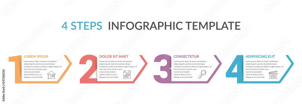Fototapeta Four Steps Infographic Template