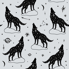 Vector Pattern With Polar Wolves, Moon And Stars, Space Constellations. Beautiful Wall Texture