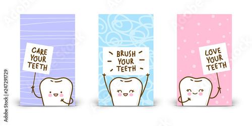 Fotografie, Obraz  Set of 240 x 400 vertical banners with kawaii teeth