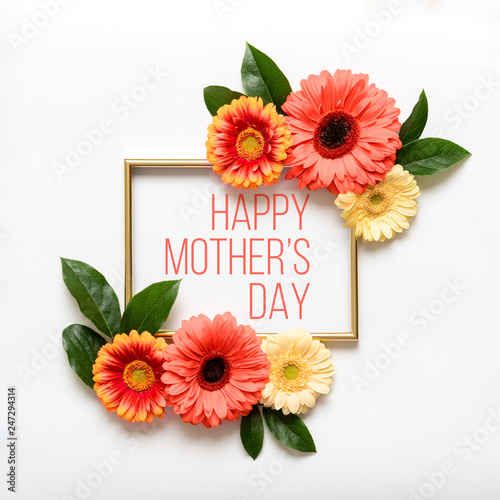 Happy Mother's Day Living Coral Pantone Color Background. Flat lay greeting card with beautiful coral hue gerbera flowers on white background.