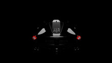 Silhouette Of Black Supercar W...