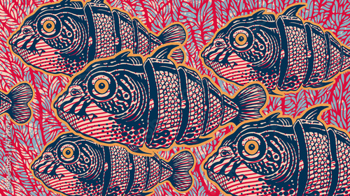 Fotografie, Obraz Surreal Design With Hand Drawn Fishs Cut Into Slices And Abstract Background With Coral