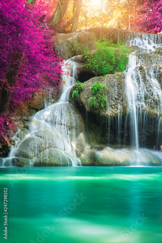 Garden Poster Waterfalls Amazing in nature, beautiful waterfall at colorful autumn forest in fall season