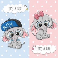 Baby Shower Greeting Card With Cute Elephant