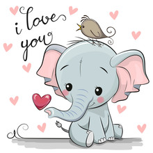 Cartoon Elephant With Heart On White Background