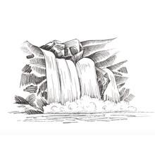 Waterfall  Sketch, Cascade Wat...