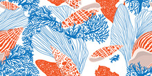 Сontemporary Seamless Pattern With Shells, Algae And Corals. Hand-drawn Vector Illustration For Printing, Fabric, Textile, Manufacturing, Wallpapers. Sea Bottom