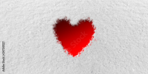 Photo  Red Heart in front of Snow Background