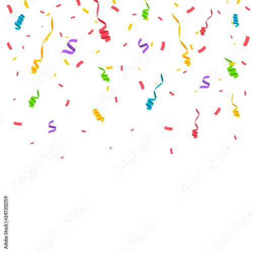 Fototapeta Colorful confetti isolated. Festive vector illustration obraz na płótnie