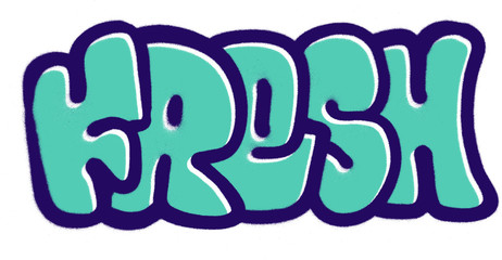 graffiti fresh bubble fonts sprayed in purple blue