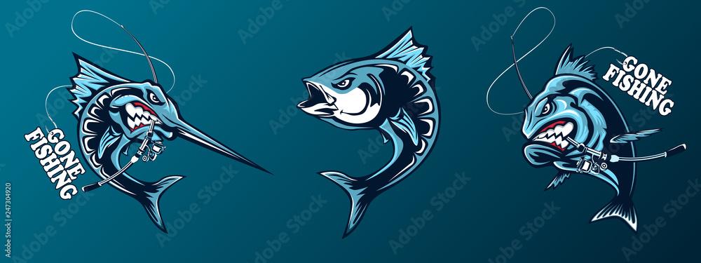 Fototapeta Fishing set of ocean fish. Marlin. Sword fish. Piranha. Marine theme. Ocean fishing background. Logos for fishing club.