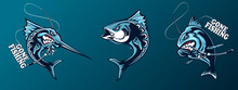 Fishing Set Of Ocean Fish. Marlin. Sword Fish. Piranha. Marine Theme. Ocean Fishing Background. Logos For Fishing Club.