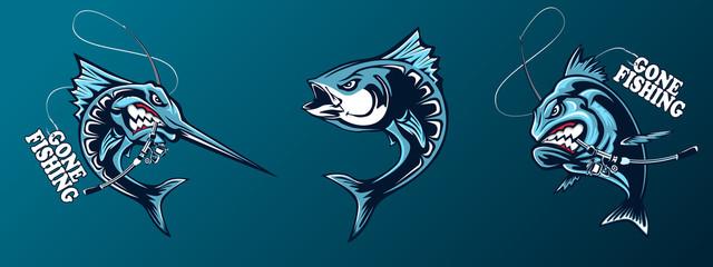 Ribolovni set oceanskih riba. Marlin. Sabljarka. Piranja. Morska tema. Pozadina oceanskog ribolova. Logotipi za ribolovni klub.