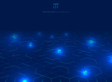 Abstract Technology Blue Wire Network Futuristic Wireframe Data Visualisation With Lighting Effect. Big Data Connection Background. Hexagons Pattern.