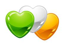 Saint Patricks Day Illustration. Irish Flag Hearts.