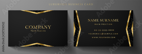Foto  Luxury black Business card design template with gold Art Deco geometric lines (VIP Gift Card)
