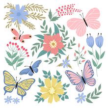 Butterflies And Flowers. Hand Drawn Vector Summer And Spring Collection. Illustration Of Summer Butterfly And Colored Flower