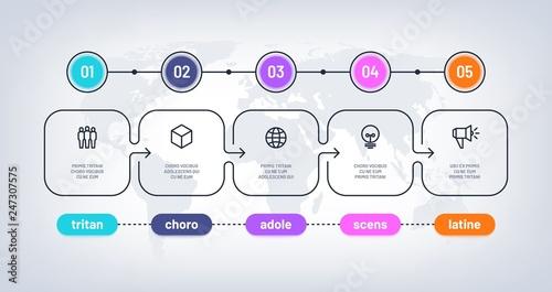 Fototapeta Business flowchart. Timeline with milestone steps pesentation history chart. Infographic optional vector diagram on world map. Illustration of infographic process step, timeline diagram obraz