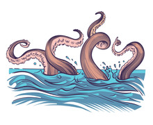 Octopus Tentacle In Sea. Underwater Ocean Invertebrate Monster. Cartoon Japanese Squid Cuttlefish Vector Illustration. Octopus Underwater, Squid Invertebrate Monster
