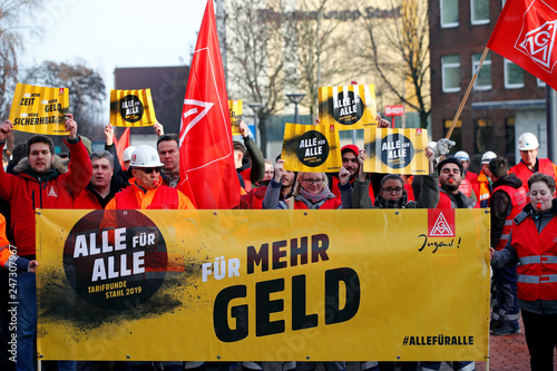 Workers of German steel maker ThyssenKrupp AG protest in a