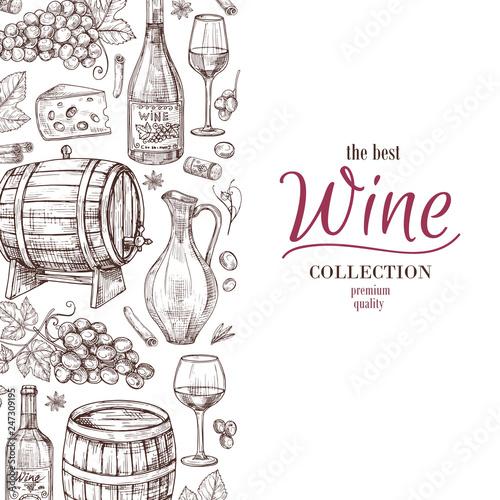 Hand drawn wine background. Wine bottles wineglass cask and grape border. Winery, restaurant vector menu template. Illustration of wine menu, bottle and cask Fototapete