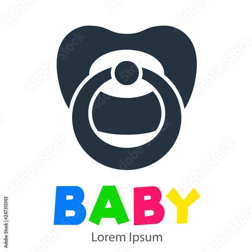Logotipo con texto BABY con chupete color gris Slika na platnu