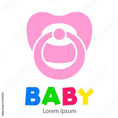 Fototapeta Logotipo con texto BABY con chupete color rosa