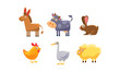 Cute farm animals set, donkey, cow, chicken, rabbit, goose, sheep vector Illustration