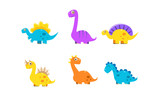 Fototapeta Dinusie - Collection of cute cartoon dinosaurs, colorful happy dino characters vector Illustration