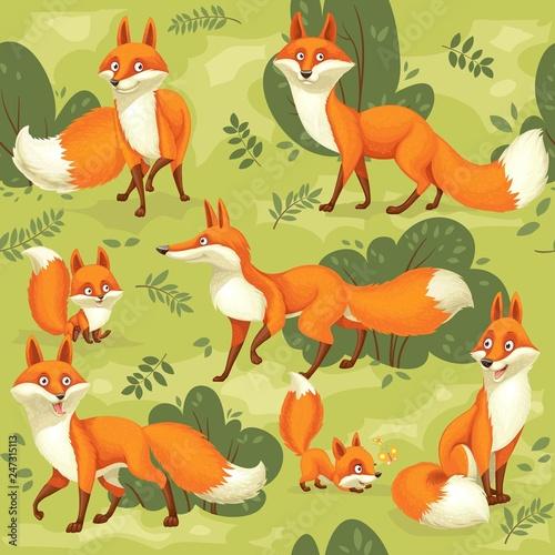 Fotografie, Obraz  Seamless pattern from cute cartoon orange foxes on green background