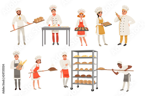 Photographie Bakers characters set with bread and cooking tools