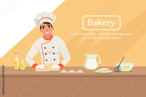 Photo Illustration with man baker character kneading dough on the table with products