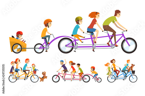 Two happy families riding on tandem bicycles with three seats and basket. Parenting concept. Recreation with kids. Cartoon people characters. Flat vector design