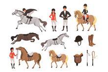 Cartoon Jockey Icons Set With ...