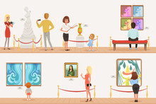 Cartoon Characters People Visitors In Art Museum. Paintings, Butterflies Collection And Sculptures In The Gallery. Cultural Activities Concept. Vector Vertical Flat Banners